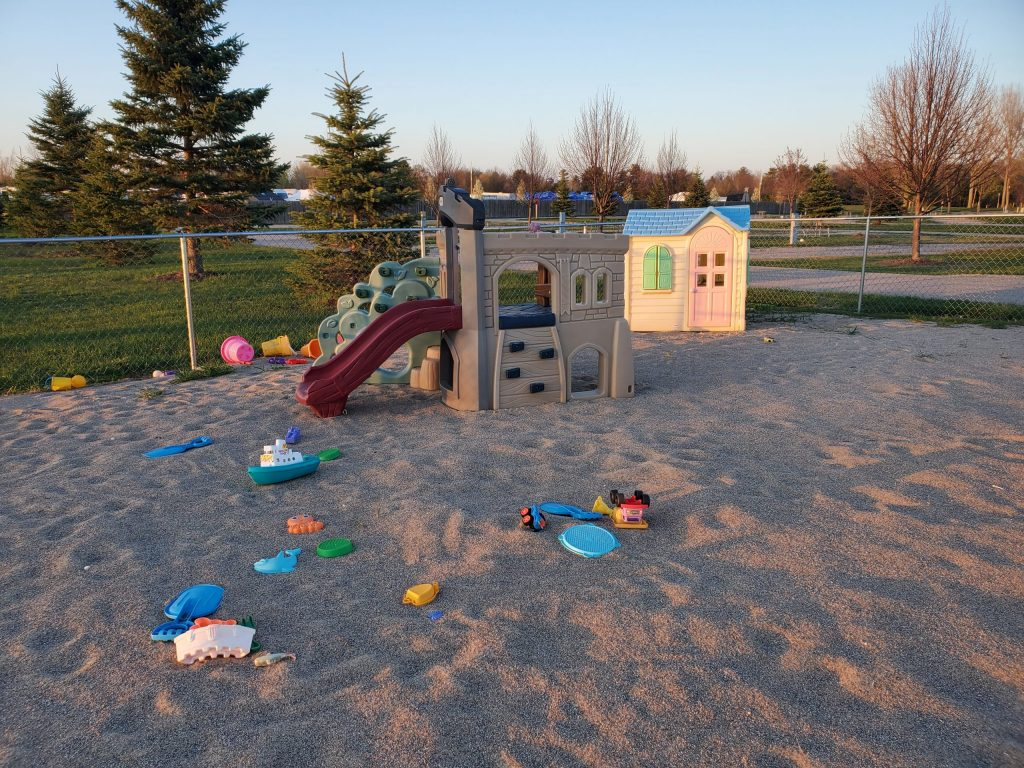 Fenced play areas for the little ones to play safely