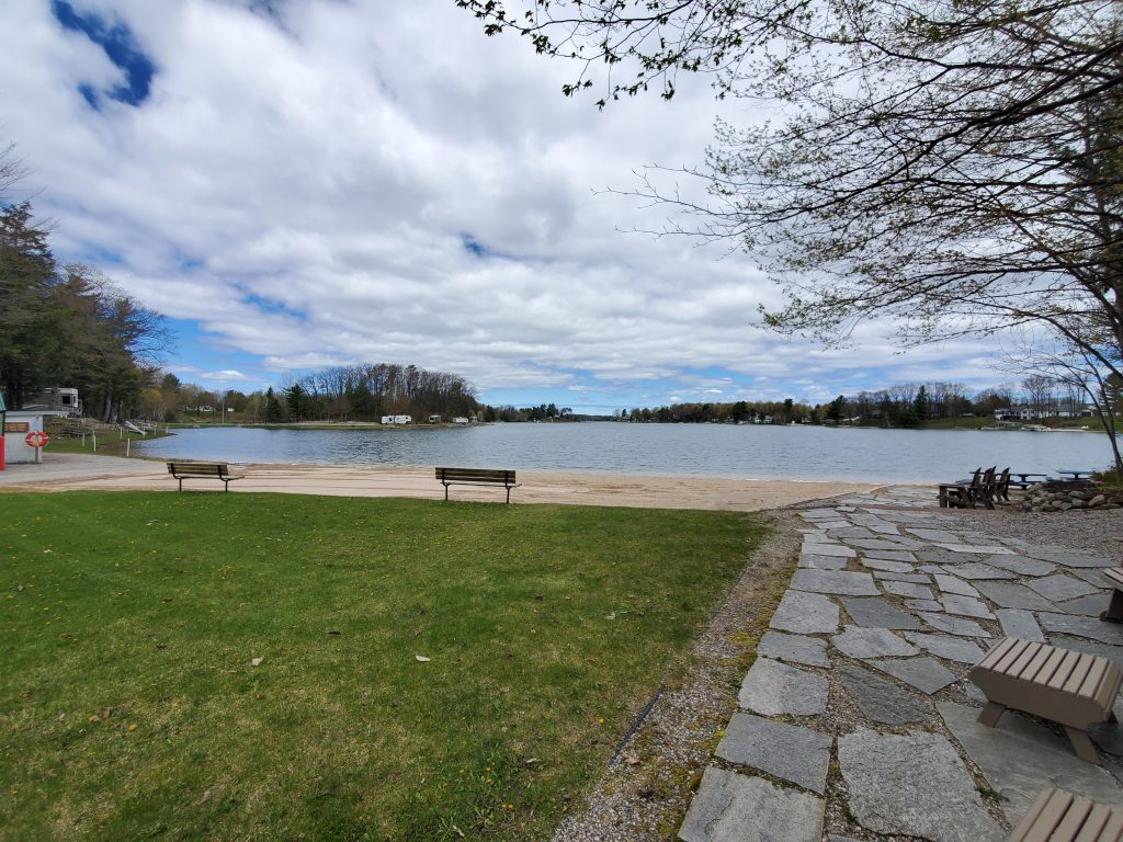 Private beach at Holiday Park Campground