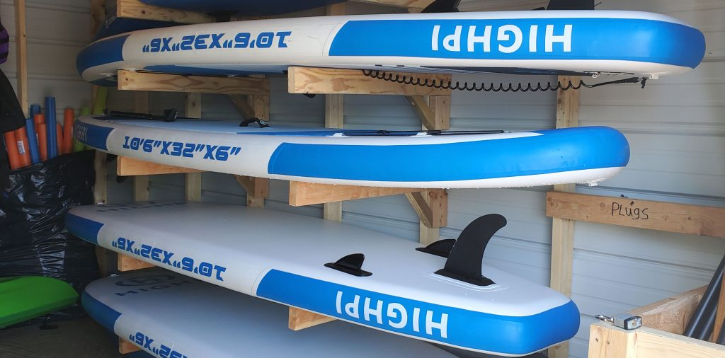 Stand-up paddleboards for rent at Holiday Park